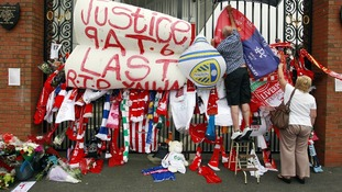 Tributes placed on the Shankly Gates next to the Hillsborough Memorial at Anfield last month