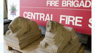 The lions, one asleep and one awake, stood for over 70 years at Central Fire Station to represent the 24-hour nature of the Service.
