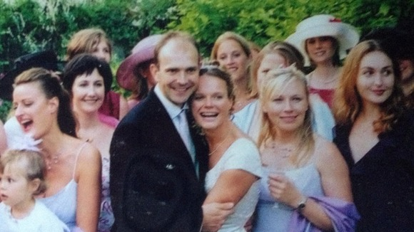 Dan Miller and Polly Brooks with friends on their wedding day.