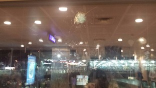 Bullet damage at the airport.