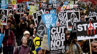 Protesters took part in a Stop Trident march through London in February.