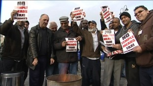 Taxi drivers protest against permits