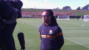 Edgar Davids talks to the media ahead of a formal press conference at Barnet FC.