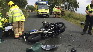 The scene in Middleton-in-Teesdale on Sunday after a serious biking accident.