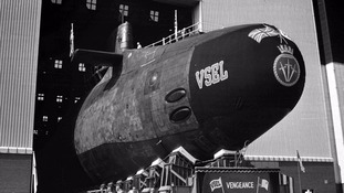 The previous generation of Trident, HMS Vengeance, being rolled out at Barrow Shipyard in 1998.