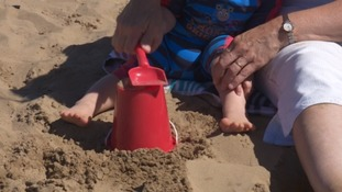 Bucket and spade on the beach