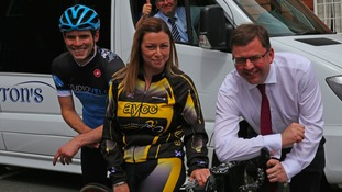 Gareth Montgomerie of Studio Velo Cycling Shop Castle Douglas, Jaime Nicholson of Annan Cycling Club and Cllr Colin Smyth