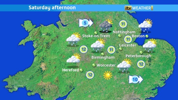 Saturday afternoon will still have a few showers