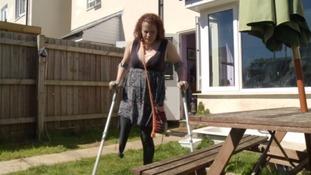 Carla Riley-Wood relies on crutches to get around after losing her leg to cancer