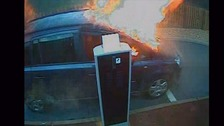 CCTV captures moment family car catches fire and is completely destroyed
