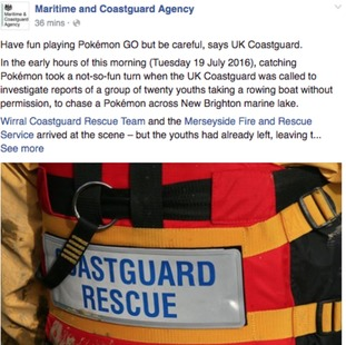 The alert from the Maritime and Coastguard Agency.