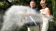 Alison and John Doherty celebrate winning £14,671,343 from the Lotto draw on July 2