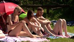Sunbathers in Blackpool.
