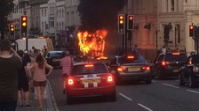 Huge bus fire in Cardiff city centre