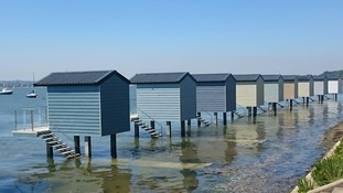 A beautiful day at the Osea beach huts in Heybridge, Essex beside the River Blackwater.
