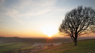 Sunset at Bison Hill in the Chilterns near Whipsnade Zoo in Bedfordshire