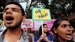 Protesters in India call for an end to violence against women.