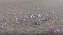 Video shows rubbish strewn across Bournemouth beach