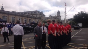 Prince Charles taking the time to chat to young cadets in Plymouth