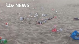 Rubbish strewn across Bournemouth beach after hottest day