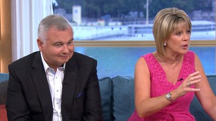 Eamonn Holmes looks towards the spot where the child wet herself.