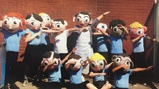 Pupils from Chapelfield Primary School with their Frank Sidebottom heads