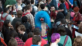 Crowds make their way through Comic Con at the Jacob Javitz Center in New York.