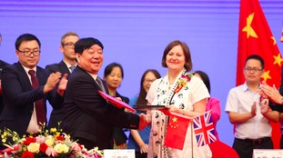 Sheffield's Councillor Julie Dore with Mr Wang, President of Sichuan Guodong Construction Group