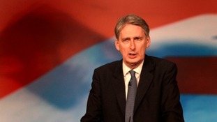 Defence Secretary Philip Hammond speaks at the Conservative Party Conference.
