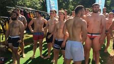 Leicester Tigers rugby squad at Rutland Water Aqua Park