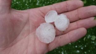 Huge hailstones dent caravan