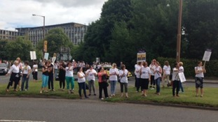 Teaching assistants protest outside Durham County Council for the third time in two months.