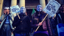 Protesters wearing masks at the demonstration