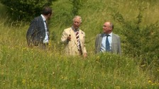 Prince Charles is taken for a look around the reserve