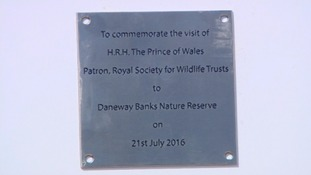 the plaque unveiled by Prince Charles