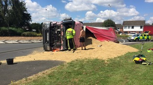 The lorry has overturned on the Hagley Road