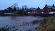 The River Petteril at Warwick Road during the floods