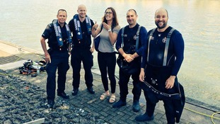 Police divers reunite woman with lost engagement ring after scouring entire harbour to find it