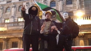 Occupy London campaigners outside the Bank of England