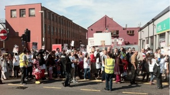 Protesters outside Leicester&#x27;s Glenfield Hospital