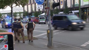 Police near the scene of the shooting in Munich