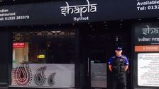 Police officer outside Shapla Tandoori Restaurant on Northgate, Darlington