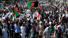 Demonstrators from Afghanistan's Hazara minority at a protest in Kabul