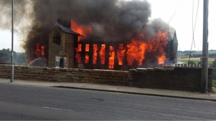 Fire at disused mill in Thornton near Bradford