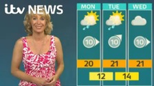 Emma Jesson in front of Granada weather outlook graphic