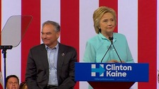 Clinton formally introduces running mate Tim Kaine
