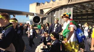 Children heading to Dreamflight aeroplane