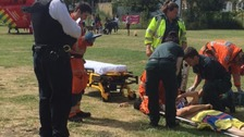 Sunbather run over by council van while lying in a park