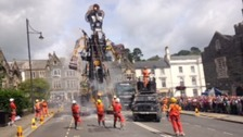 Meet the Man Engine: Country's largest mechanical puppet travels across Cornwall