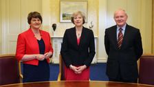 First Minister Arlene Foster, Prime Minister Theresa May and deputy First Minister Martin McGuinness met on Monday morning.